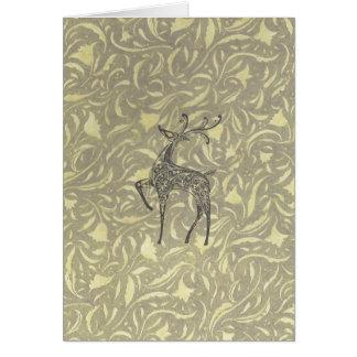 Reindeer in Green Greeting Card