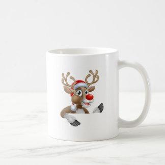 Reindeer in Santa Hat Pointing Down at Sign Coffee Mug