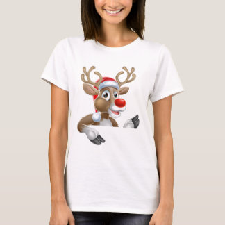 Reindeer in Santa Hat Pointing Down at Sign T-Shirt