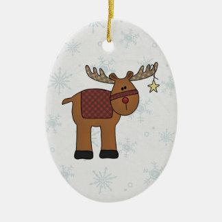 Reindeer in Snow Ceramic Ornament