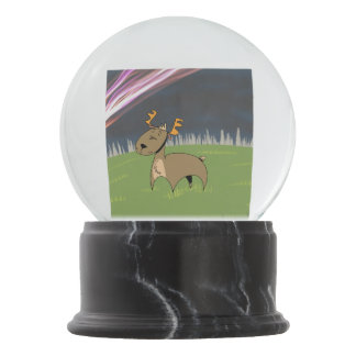 Reindeer in the tundra snow globe