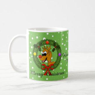 Reindeer in Wreath Christmas Mug