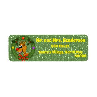 Reindeer in Wreath Christmas Return Address Labels
