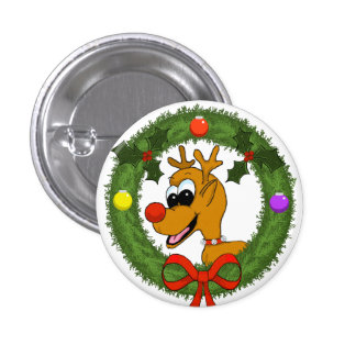 Reindeer in Wreath Holiday Pin