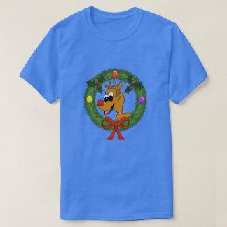 Reindeer in Wreath Mens T-Shirt
