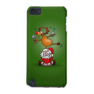Reindeer is having a drink on Santa Claus iPod Touch 5G Cover