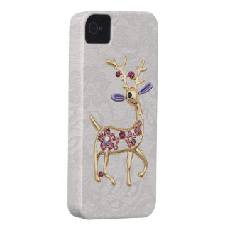 Reindeer Jewel Photo Paisley Lace iPhone 4 Case