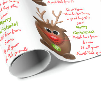 Reindeer Letter from Santa Christmas Xmas Wrapping Paper