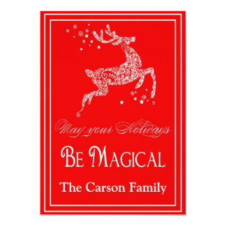Reindeer Magical Christmas Card - Holiday Card