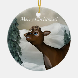 Reindeer Merry Christmas Ornament Round Ceramic Ornament