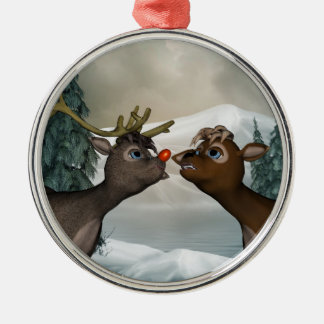 Reindeer Merry Christmas Ornament Silver-Colored Round Ornament