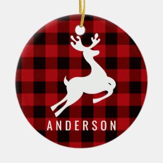 Reindeer Monogram | Deep Red Buffalo Plaid Ceramic Ornament