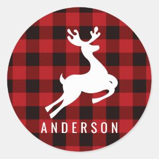 Reindeer Monogram | Deep Red Buffalo Plaid Classic Round Sticker