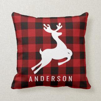Reindeer Monogram | Deep Red Buffalo Plaid Cushion