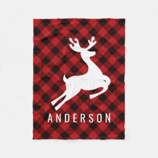 Reindeer Monogram | Deep Red Buffalo Plaid Fleece Blanket