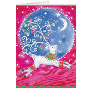 Reindeer Moon Retro Abstract Christmas Card