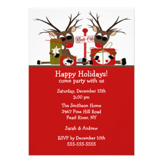 Reindeer North Pole Holiday Party Invitation