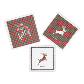 Reindeer on Red and Green Tartan Christmas Plaid Acrylic Tray