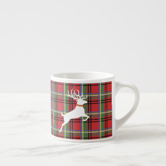 Reindeer on Red and Green Tartan Christmas Plaid Espresso Cup