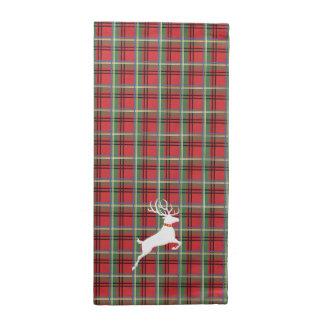 Reindeer on Red and Green Tartan Christmas Plaid Napkin