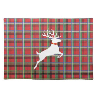 Reindeer on Red and Green Tartan Christmas Plaid Placemat