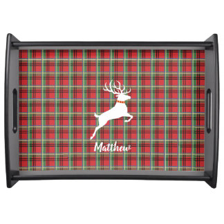 Reindeer on Red and Green Tartan Christmas Plaid Serving Tray