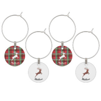 Reindeer on Red and Green Tartan Christmas Plaid Wine Charm