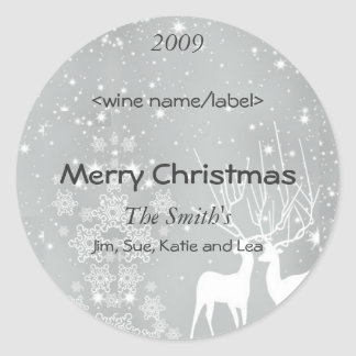 Reindeer on Silver Christmas Wine Labels Classic Round Sticker