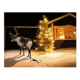 Reindeer on you lawn postcard