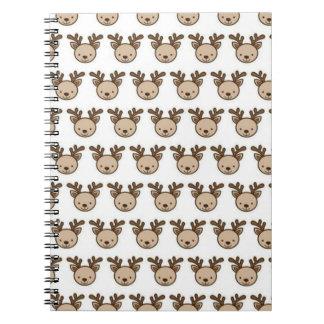 Reindeer Pattern Spiral Notebook (80 Pages B&W)