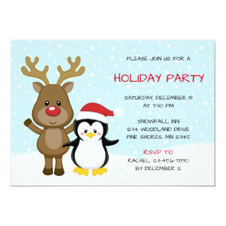 Reindeer Penguin Christmas Holiday Party Card