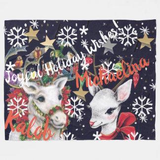 Reindeer Personalised Fleece Blanket