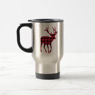 Reindeer Plaid Travel Mug