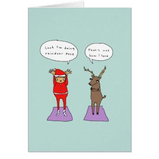 Reindeer Pose | Funny Yoga Comic Christmas Card