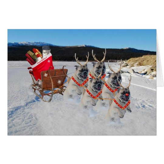 Reindeer Pugs Pulling a Sleigh of Toys Card