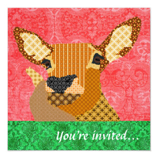 Reindeer Red Green 13 Cm X 13 Cm Square Invitation Card