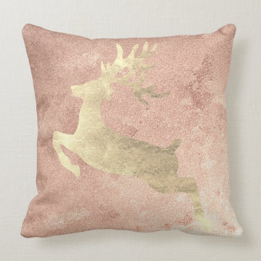 Reindeer Rose Gold Copper Grungy Cottage Cushion