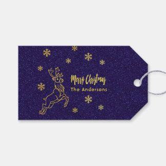Reindeer Rudolph snow crystals blue and faux gold Gift Tags