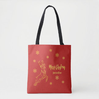 Reindeer Rudolph snowflakes in red and faux gold Tote Bag