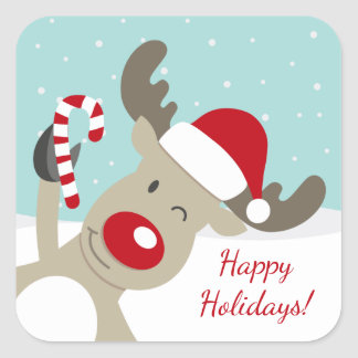 Reindeer Rudolph the red nose in Santa hat Square Sticker