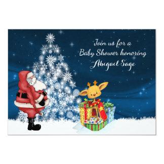 Reindeer, Santa, Christmas Tree Baby Shower Invite