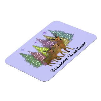 Reindeer Seasons Greetings Premium Magnet