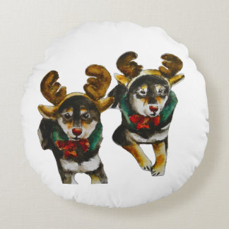 Reindeer Shiba Inu Hana and Saki Round Cushion