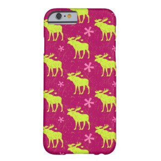 Reindeer silhouette and small hearts on pink red barely there iPhone 6 case
