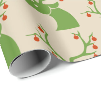 Reindeer Silhouette with Ornaments Wrapping Paper