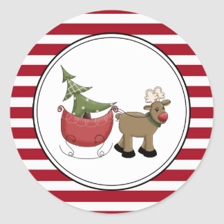 Reindeer & Sleigh Holiday Envelope Seals Stickers