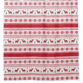 Reindeer & Snowflakes Fair Isle Shower Curtain