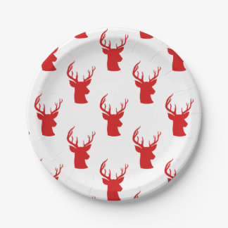 Reindeer | Stag | Antler Red Holiday Pattern Paper Plate