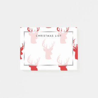 Reindeer | Stag | Antler Red Holiday Pattern Post-it Notes