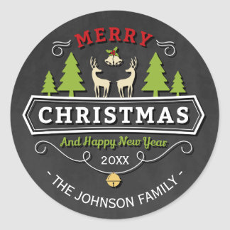 Reindeer Tree Christmas with Chalkboard Classic Round Sticker